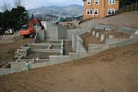 Large hillside foundation with drilled piers